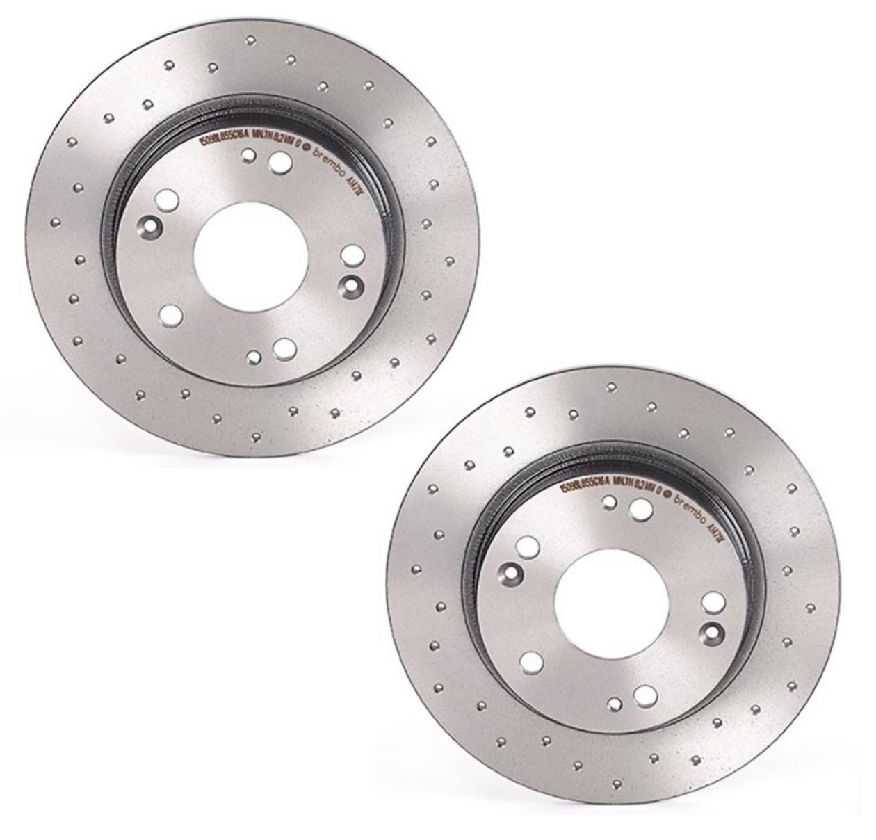 Pair Set 2 Rear Brembo Xtra Brake Disc Rotors Drilled For